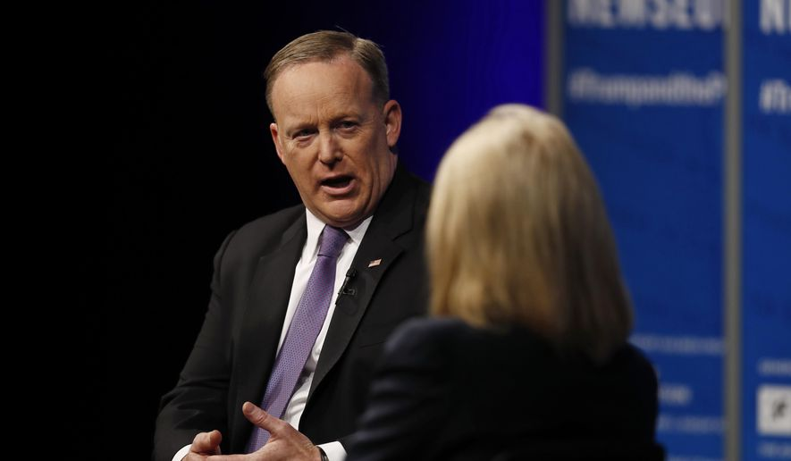 "White House press secretary Sean Spicer speaks to moderator Greta Van Susteren at the Newseum in Washington, Wednesday, April 12, 2017, during ""The President and the Press: The First Amendment in the First 100 Days"" forum. (AP Photo/Carolyn Kaster)"
