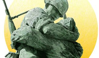Detail of 'The Statue of Brothers' at The War Memorial of Koea in Seoul. Photo illustration by Greg Groesch/The Washington Times