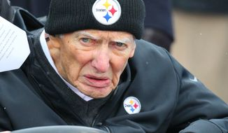 Pittsburgh Steelers owner Dan Rooney is driven to the field prior to an NFL football game between the Buffalo Bills and the Steelers, Sunday, Dec. 11, 2016, in Orchard Park, N.Y. (AP Photo/Bill Wippert) **FILE**