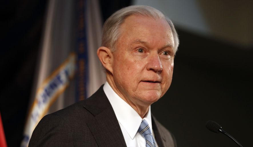 Attorney General Jeff Sessions speaks about crime to local, state and federal law enforcement officials in St. Louis on March 31, 2017. (Associated Press) **FILE**