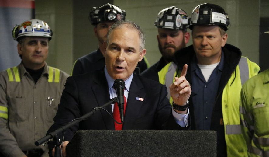 U.S. Environmental Protection Agency Administrator Scott Pruitt speaks to a group of miners during a visit to Consol Pennsylvania Coal Company's Harvey Mine in Sycamore, Pa., Thursday, April 13, 2017. (AP Photo/Gene J. Puskar)