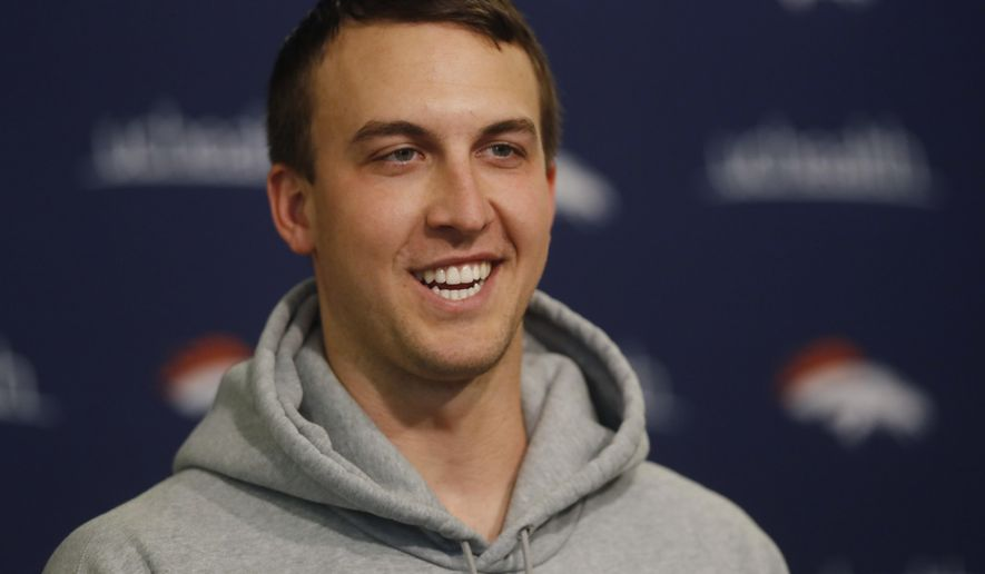 Denver Broncos quarterback Trevor Siemian talks during a news conference at the team's headquarters on Thursday, April 13, 2017, in Englewood, Colo. (AP Photo/David Zalubowski)