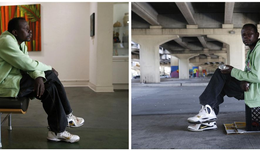 This April 11, 2017 combo shows William Hardy, who is homeless, posing for a portrait both at the Lemieux Galleries, left, and where he sleeps with a crate and a cardboard box under the Pontchartrain Expressway in New Orleans. Hardy was given a camera and has sold prints in the gallery. His works are part of an exhibit by artists, who are or were previously homeless, currently on display at LeMieux Galleries in New Orleans' Arts District. The show, which opened April 1, runs through Saturday, April 15. (AP Photo/Gerald Herbert)