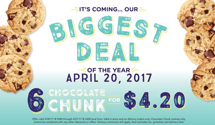 Insomnia Cookies sale promotion for April 20, 2017, from an April 13 message on its official Twitter account. (Twitter)
