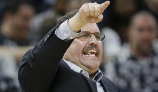 Detroit Pistons coach Stan Van Gundy gestures during the second half of the team's NBA basketball game against the Orlando Magic, Wednesday, April 12, 2017, in Orlando, Fla. Orlando won 113-109. (AP Photo/John Raoux)