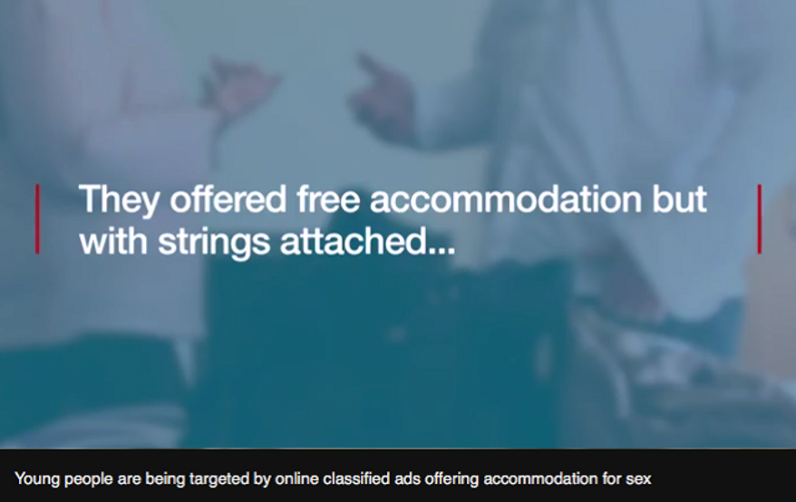 Screen capture from a BBC video about classified advertisements offering housing in exchange for regular sexual encounters.