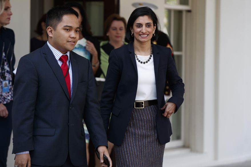 Seema Verma, administrator of the Centers for Medicare and Medicaid Services, walks to speak with reporters outside the White House in Washington, Thursday, April 13, 2017, after President Donald Trump signed H.J. Res. 43, which allows states to withhold federal funds from facilities that provide abortion services. (AP Photo/Evan Vucci) ** FILE **