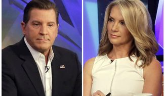 "FILE - In this combination photo, Fox News personalities Eric Bolling, left, and dana Perino appear on ""The Five,"" program  on July 22, 2015 in New York. Fox News Channel expects Bill O'Reilly back from his vacation on April 24, ready to resume his position as cable television news' most popular host. But given advertiser defections and swirl of stories about payouts to five women to keep harassment allegations quiet, it's impossible to dismiss the idea that he may lose his television home for the past two decades. Replacements candidates could include Bolling, left, and Perino. (AP Photo/Richard Drew, file)"