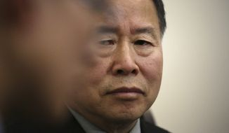 "Han Song Ryol, North Korea's vice foreign minister, listens to a translator during an interview with The Associated Press on Friday, April 14, 2017, in Pyongyang, North Korea. Han Song Ryol said the situation on the Korean Peninsula is now in a ""vicious cycle."" (AP Photo/Wong Maye-E)"