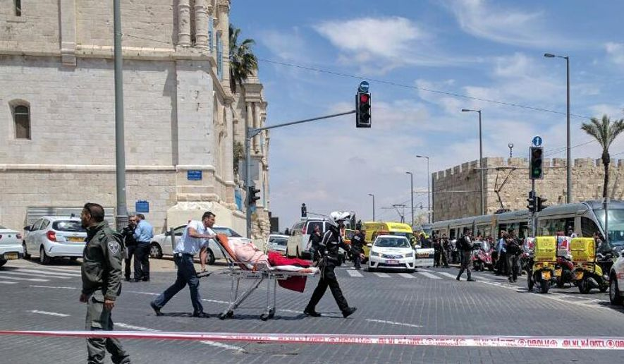 A woman was stabbed to death and two others injured aboard an Israeli light-rail train on April 14 in what authorities said was a terrorist attack. (Magen David Adom via Twitter)