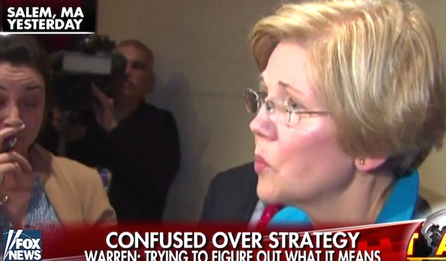 """Massachusetts Sen. Elizabeth Warren told reporters on Thursday that President Donald Trump needs to """"explain himself"""" for allowing a strike on tunnels used by the Islamic State group in Afghanistan. The U.S. military dropped its GBU-43/B Massive Ordnance Air Blast (MOAB) on a target in Kabul. (Fox News screenshot)"""