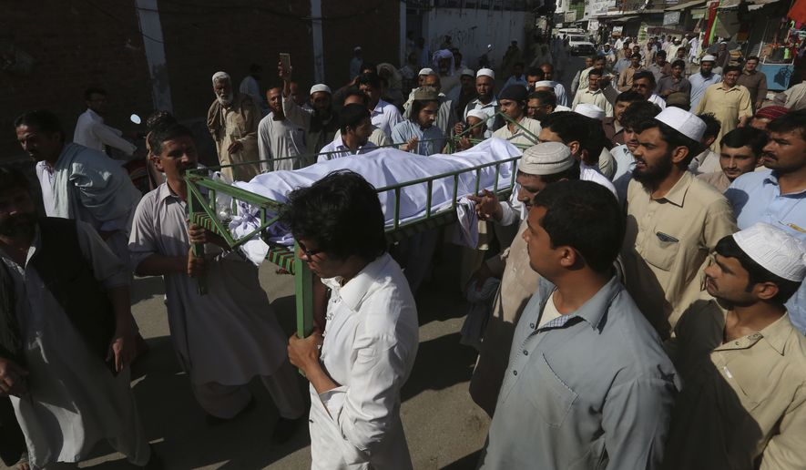 Mohammad Mashal was attacked and killed by fellow Abdul Wali Khan University students who accused him of sharing blasphemous content on Facebook. Blasphemy against Islam is punishable by death under Pakistani law, and the mere suspicion of blasphemy is enough to ignite deadly mob violence in the Muslim-majority country. (Associated Press/File)