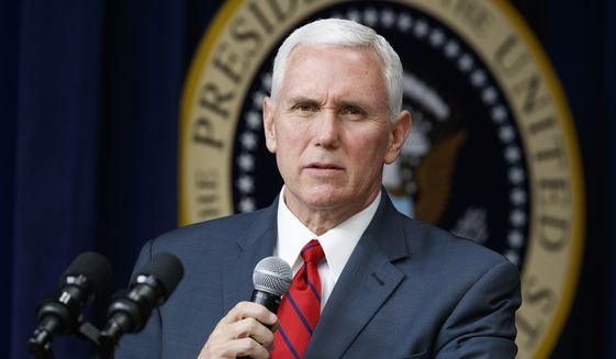 "Vice President Mike Pence speaks during a town hall with business leaders in the South Court Auditorium on the White House complex in Washington, in this April 4, 2017, file photo. Pence is set to arrive Sunday, April 16, in South Korea as President Donald Trump vows that North Korea Kim Jong-un's government is a ""problem"" that will be ""taken care of."" (AP Photo/Evan Vucci, File)"
