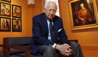 "FILE - In this May 13, 2011 file photo, historian and author David McCullough poses at the National Portrait Gallery, in Washington. McCullough's latest book, ""The American Spirit,"" is a collection of talks he has given over the past 30 years. Known for such best-sellers as ""John Adams"" and ""The Wright Brothers,"" McCullough also is one of the country's most popular speakers, in demand at colleges, historical societies and political gatherings, including a joint session of Congress in 1989. (AP Photo/Jacquelyn Martin, File)"