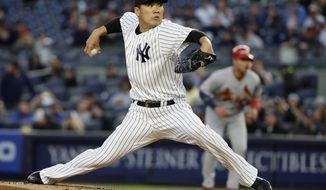 New York Yankees starting pitcher Masahiro Tanaka, of Japan, delivers during the first inning of a baseball game against the St. Louis Cardinals, Friday, April 14, 2017, in New York. (AP Photo/Frank Franklin II)
