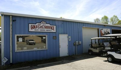 ADVANCE FOR SATURDAY, APRIL 15, 2017 -This April 5, 2017 photo, shows the exterior of Golf Cart Service owned by David Upshaw,  in Roebuck, S.C. ( Alex Hicks Jr./The Spartanburg Herald-Journal via AP)
