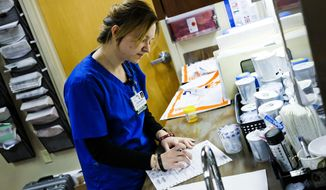 In this Feb. 22, 2017 file photo, Medical Assistant Lona Coleman demonstrates the process for the intake of drug screen specimens at Excela Health WORKS Occupational Health Center in Irwin, Pa.  Companies drug test in the workplace, either before offering jobs to candidates or after accidents. Advocates say it boosts safety and productivity and cuts personnel problem costs, but business leaders say it complicates the already difficult task of hiring good people.  (Christian Tyler Randolph/Pittsburgh Tribune-Review via AP)