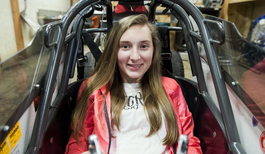 """ADVANCE FOR RELEASE SATURDAY, APRIL 15, 2017, AT 3:01 A.M. EDT. - In this undated photo Bailie Zepp's name is emblazoned on her smoky blue junior dragster """"Category 5"""" in Hanover, Pa. (Dan Rainville/The Evening Sun via AP)"""
