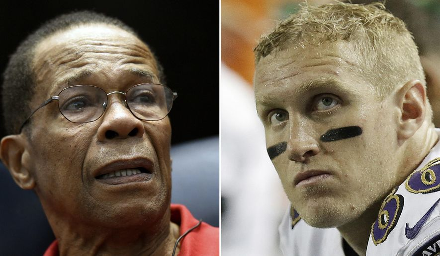 FILE - At left, in a Jan. 30, 2016, file photo, Baseball Hall of Famer and former Minnesota Twins player Rod Carew speaks to fans about his recent heart attack, in Minneapolis. At right, in a Sept. 3, 2015, file photo, Baltimore Ravens tight end Konrad Reuland sits on the bench during the second half of an NFL football preseason game against the Atlanta Falcons, in Atlanta. Rod Carew received a new heart and kidney from the late NFL player Konrad Reuland in what is believed to be the first such transplant involving pro athletes. (AP Photo/File)