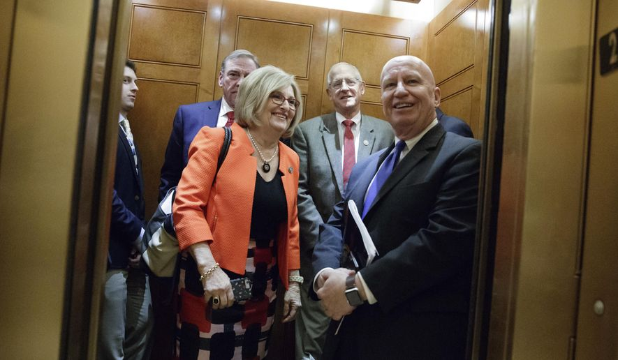 FILE - In this March 24, 2017, file photo, House Budget Chair Diane Black, R-Tenn., and Ways and Means Chairman Kevin Brady, R-Texas, key stewards of the Republican health care overhaul legislation, board an elevator off the House chamber after GOP leadership decided to pull the troubled bill off the House floor. Black had widely been expected to try to use the health care law as a springboard for a gubernatorial bid in Tennessee. (AP Photo/J. Scott Applewhite, File)