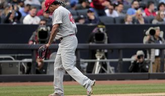 St. Louis Cardinals pitcher Carlos Martinez walks off the field after being relieved in the sixth inning of a baseball game against the New York Yankees, Saturday, April 15, 2017, in New York. (AP Photo/Julie Jacobson)
