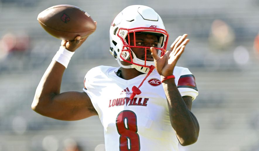 FILE - In this Oct. 29, 2016 file photo, Louisville quarterback Lamar Jackson (8) throws a pass during warmups before an NCAA college football game against Virginia in Charlottesville, Va. Jackson's Heisman Trophy season didn't end the way he had hoped as he was sacked 22 times and committed costly fumbles that contributed to Louisville's three-game slide to end the year. He has spent this spring focused on making better decisions along with improving the tools that made him the nation's best player. (AP Photo/Ryan M. Kelly, File)