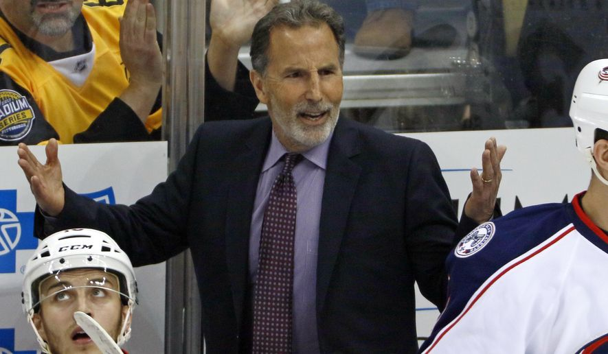 File- This April 12, 2017, file photo shows Columbus Blue Jackets head coach John Tortorella questioning an official during the first period in Game 1 of an NHL first-round hockey playoff series in Pittsburgh. Tortorella sent Columbus Blue Jackets players a terse personal letter letting them know that uncomfortable times were ahead. But if they worked hard, he wrote, it would all be worth it. (AP Photo/Gene J. Puskar, File)