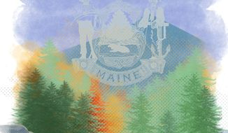 Illustration on Federal conservation efforts in Maine by Linas Garsys/The Washington Times