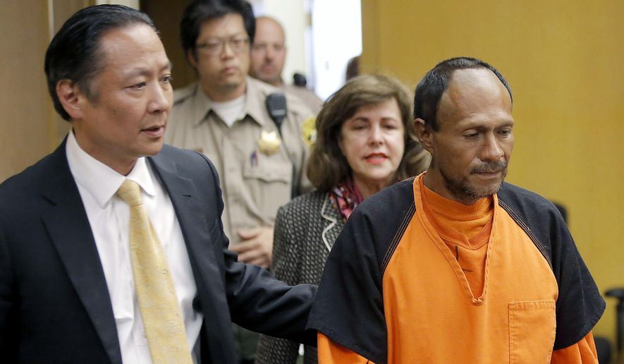"""Juan Francisco Lopez-Sanchez, right, is led into the courtroom by San Francisco Public Defender Jeff Adachi, left, and Assistant District Attorney Diana Garciaor, center, for his arraignment at the Hall of Justice in San Francisco in this July 7, 2015, file photo. The parents of Kathryn Steinle filed a wrongful death claim Tuesday, Sept. 1, 2015, alleging that the San Francisco Sheriff's Department is to blame for releasing an illegal immigrant from jail despite a federal """"detainer"""" request to keep in custody for possible deportation proceedings. A claim is usually a precursor to a lawsuit. (Michael Macor/San Francisco Chronicle via AP, Pool, File)"""