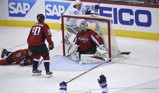 Toronto Maple Leafs right wing Kasperi Kapanen, rear, of Finland, celebrates his goal against Washington Capitals goalie Braden Holtby (70) during the second overtime period in Game 2 of an NHL Stanley Cup first round playoff series in Washington, Saturday, April 15, 2017. The Maple Leafs won 4-3. (AP Photo/Molly Riley)
