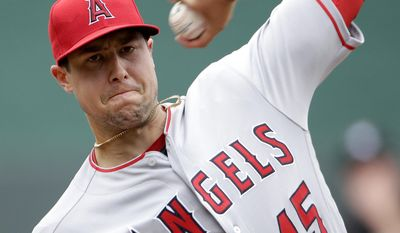 Los Angeles Angels starting pitcher Tyler Skaggs throws during the first inning of a baseball game against the Kansas City Royals Sunday, April 16, 2017, in Kansas City, Mo. (AP Photo/Charlie Riedel)
