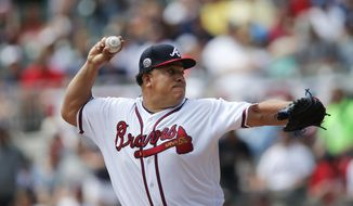 Atlanta Braves starting pitcher Bartolo Colon works in the first inning of a baseball game against the San Diego Padres Sunday, April 16, 2017, in Atlanta. (AP Photo/John Bazemore)