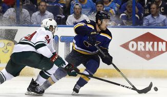 St. Louis Blues' Jaden Schwartz, right, looks to pass as Minnesota Wild's Matt Dumba, left, watches during the second period in Game 3 of an NHL hockey first-round playoff series Sunday, April 16, 2017, in St. Louis. (AP Photo/Jeff Roberson)