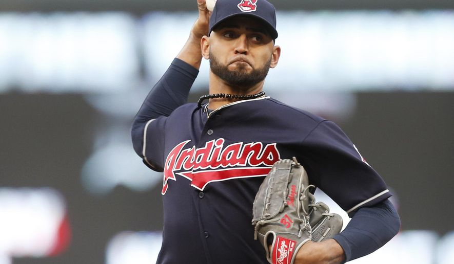 Cleveland Indians pitcher Danny Salazar throws against the Minnesota Twins in the first inning of a baseball game, Monday, April 17, 2017, in Minneapolis. (AP Photo/Jim Mone)