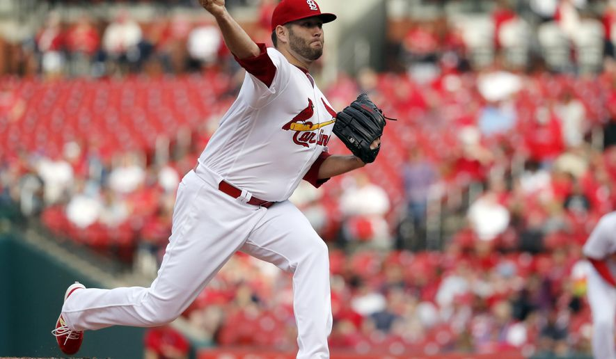 St. Louis Cardinals starting pitcher Lance Lynn throws during the first inning of a baseball game against the Pittsburgh Pirates, Monday, April 17, 2017, in St. Louis. (AP Photo/Jeff Roberson)