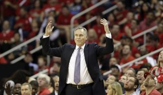 Houston Rockets coach Mike D'Antoni reacts to a foul call during the second half against the Oklahoma City Thunder in Game 1 of an NBA basketball first-round playoff series, Sunday, April 16, 2017, in Houston. The Rockets won 118-87. (AP Photo/David J. Phillip)