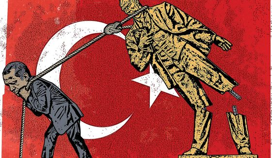 Illustration on Erdogan's impact on Turkey by Linas Garsys/The Washington Times