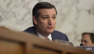 Senate Judiciary Committee member Sen. Ted Cruz, R-Texas questions Supreme Court Justice nominee Neil Gorsuch on Capitol Hill in Washington, Wednesday, March 22, 2017, during Gorsuch's confirmation hearing before the committee. (AP Photo/Susan Walsh)