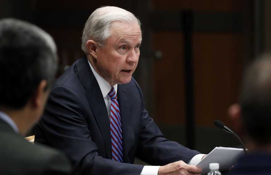 Attorney General Jeff Sessions speaks before a meeting of the Attorney General's Organized Crime Council and Organized Crime Drug Enforcement Task Forces (OCDETF) Executive Committee to discuss implementation of the President's Executive Order 13773, at the Department of Justice, Tuesday, April 18, 2017, in Washington. (AP Photo/Alex Brandon)