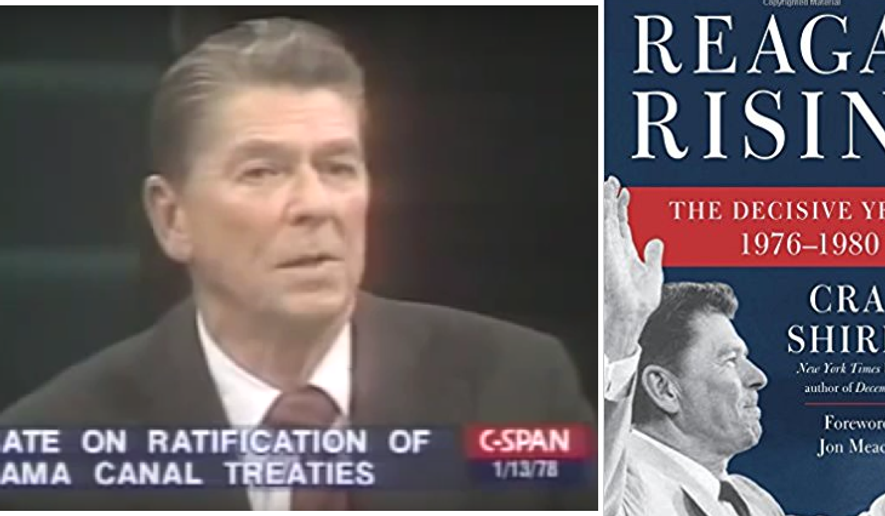 "Screen shot from C-SPAN video of 1978 ""Firing Line"" debate over the Panama Canal Treaty. And book cover from Craig Shirley's recent release, Reagan Rising."