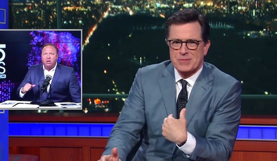 """Late Night"" host Stephen Colbert turned Alex Jones' divorce and custody battle into fodder for jokes on April 17, 2017. (CBS ""Late Show"" screenshot)"
