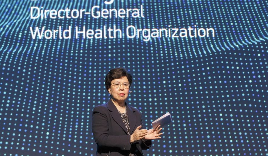China's Margaret Chan, General Director of the World Health Organization, WHO, makes closing remarks during a panel on Neglected Tropical Diseases for the celebration of the fifth anniversary of the London Declaration on Neglected Tropical Diseases (NTDs), in Geneva, Switzerland, on Tuesday, April 18, 2017. (Salvatore Di Nolfi/Keystone via AP) ** FILE **