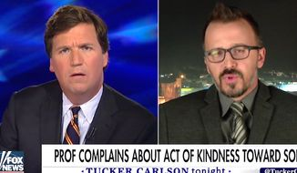 Fox News host Tucker Carlson interviews Drexel University professor George Ciccariello on March 30, 2017. (Fox News screenshot)