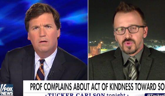 Fox News host Tucker Carlson interviews Drexel University professor George Ciccariello on March 30, 2017. (Fox News screenshot)