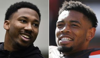 """FILE - At left, in a March 30, 2017, file photo, former Texas A&M defensive end Myles Garrett smiles during Texas A&M Pro Day at the NCAA football team's indoor training facility in College Station, Texas. At right, in an Oct. 9, 2016, file photo, Cleveland Browns cornerback Joe Haden warms up before an NFL football game against the New England Patriots, in Cleveland. The Brown may still be deciding on the No. 1 overall draft pick. Joe Haden has made his selection. Cleveland's star cornerback said Tuesday, April 18, 2017, he'd be """"super excited"""" if the Browns chose Texas A&M's Myles Garrett next week with the top pick in the NFL draft. (AP Photo/Ron Schwane, File)"""