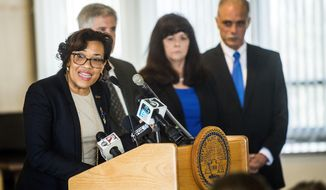 Flint Mayor Karen Weaver speaks during a press conference, Tuesday, April 18, 2017, at City Hall in Flint, Mich., where Weaver officially recommended that the city remain a long-term customer of what was the Detroit water system and abandon an effort to treat its own raw water again. (Jake May/The Flint Journal-MLive.com via AP)