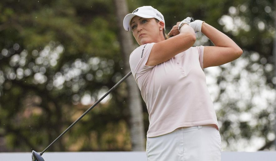 Cristie Kerr hits from the first tee during the final round of the Lotte Championship LPGA golf tournament Saturday, April 15, 2017, in Kapolei, Hawaii. (Cindy Ellen Russell/The Star-Advertiser via AP)