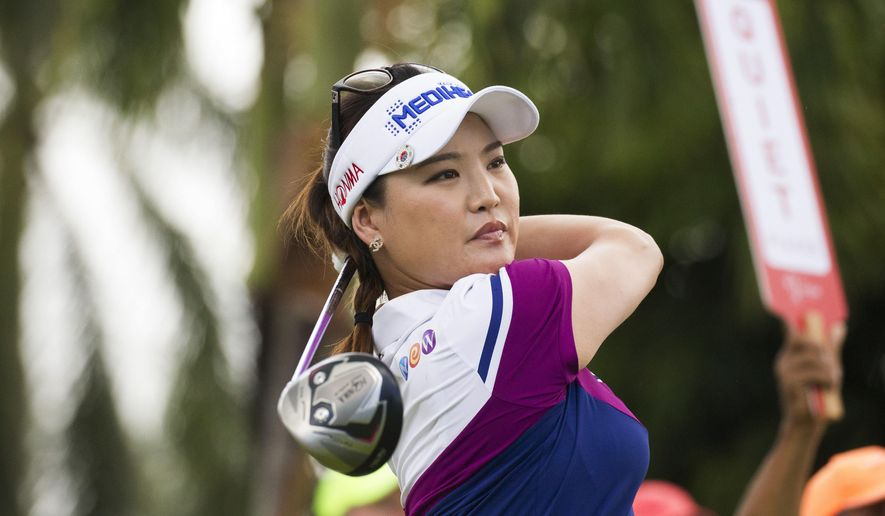 So-Yeon Ryu hits off the first tee during the final round of the Lotte Championship LPGA golf tournament Saturday, April 15, 2017, in Kapolei, Hawaii. (Cindy Ellen Russell/The Star-Advertiser via AP)