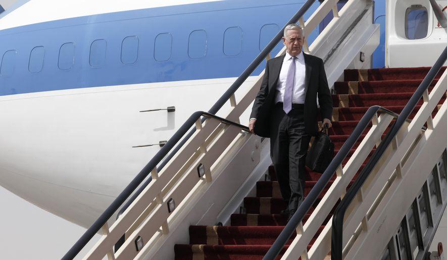 U.S. Defense Secretary James Mattis arrives at the start of a week-long Middle East visit at King Salman Air Base, Riyadh, Saudi Arabia, Tuesday, April 18, 2017. (Jonathan Ernst/Pool phto via AP)