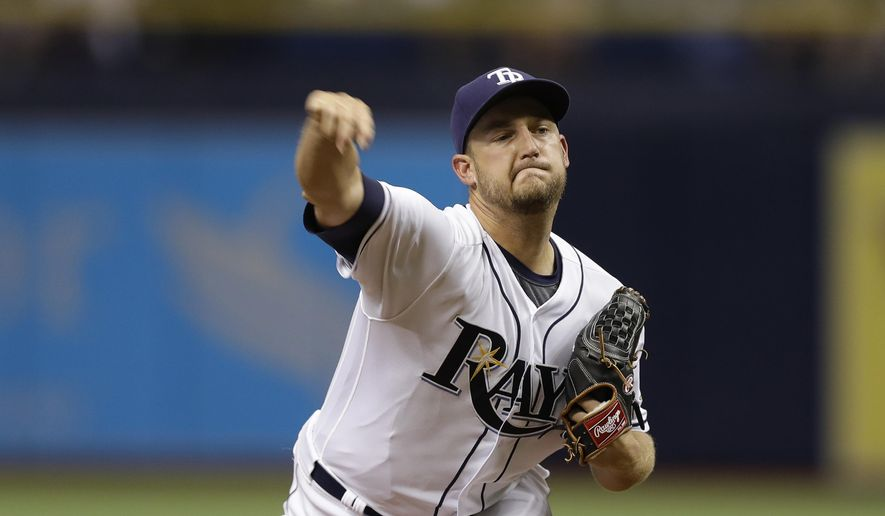 Tampa Bay Rays' Matt Andriese pitches to the Detroit Tigers during the first inning of a baseball game Tuesday, April 18, 2017, in St. Petersburg, Fla. (AP Photo/Chris O'Meara)